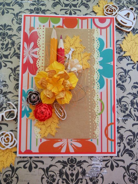Открытки для женщин, ручной работы. Ярмарка Мастеров - ручная работа. Купить Осенняя открытка. Handmade. Осень, Открытка ручной работы