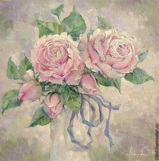 """Картины цветов ручной работы. Ярмарка Мастеров - ручная работа. Купить картина """"Пудра"""" розы масло холст шебби-шик  розовые цветы. Handmade."""