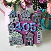 Для дома и интерьера ручной работы. Ярмарка Мастеров - ручная работа Табличка на дверь с номером квартиры. Handmade.