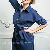 """Одежда ручной работы. Ярмарка Мастеров - ручная работа Свободное платье на каждый день """"Птичка на проводе"""" темно-синего цвета. Handmade."""