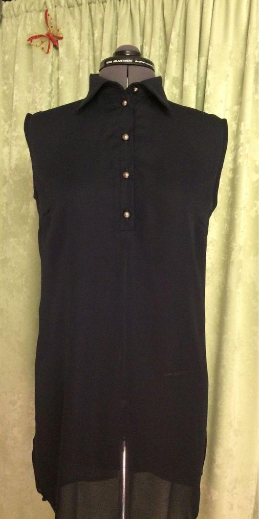 Блузки ручной работы. Ярмарка Мастеров - ручная работа. Купить Блузка-туника удлинённая темно-синего цвета. Handmade. Блузка