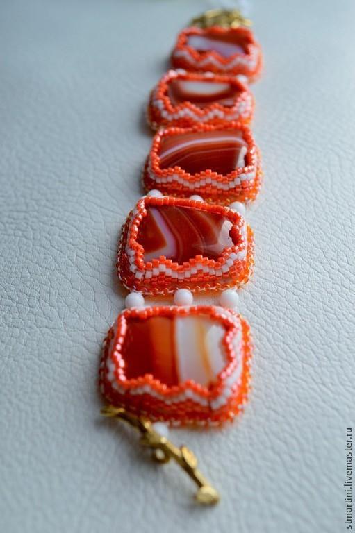 """Браслеты ручной работы. Ярмарка Мастеров - ручная работа. Купить Браслет """"Апельсин"""". Handmade. Рыжий, браслет натуральный агат"""