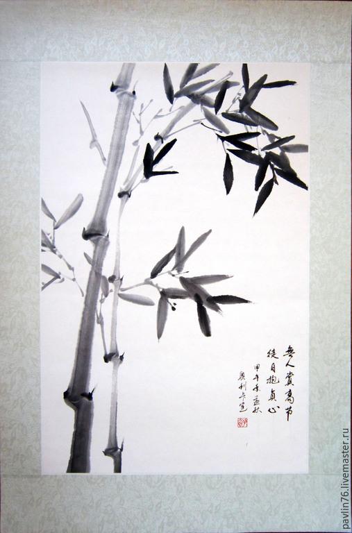 Картины цветов ручной работы. Ярмарка Мастеров - ручная работа. Купить Молодой бамбук.. Handmade. Черный, бамбук, молодой бамбук