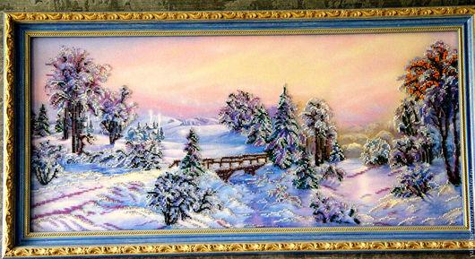 """Пейзаж ручной работы. Ярмарка Мастеров - ручная работа. Купить Картина вышитая бисером """"Околдованный лес"""". Handmade. Синий, подарок"""