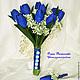 """Свадебные цветы ручной работы. Ярмарка Мастеров - ручная работа. Купить Свадебный проект """"Сапфир"""". Handmade. Тёмно-синий"""