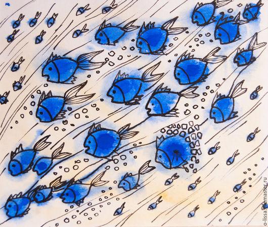 Животные ручной работы. Ярмарка Мастеров - ручная работа. Купить Рыбки. Handmade. Синий, акварель, для интерьера, тушь