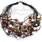 Украшения handmade. Livemaster - original item Necklace on Red cord fall, agate pendants Jasper quartz wood Jasper beads. Handmade.
