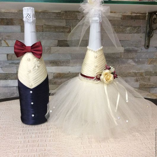 Свадебные аксессуары ручной работы. Ярмарка Мастеров - ручная работа. Купить Свадебные бутылки ( свадьба марсала). Handmade. Бордовый