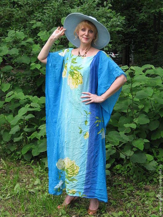 """Пляжные платья ручной работы. Ярмарка Мастеров - ручная работа. Купить """"Воздух""""  пляжное платье-туника. Handmade. Цветочный, большой размер"""