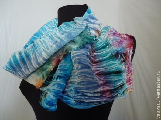 Шали, палантины ручной работы. Ярмарка Мастеров - ручная работа. Купить Бархатный шарф-снуд Морская история. Handmade. Абстрактный