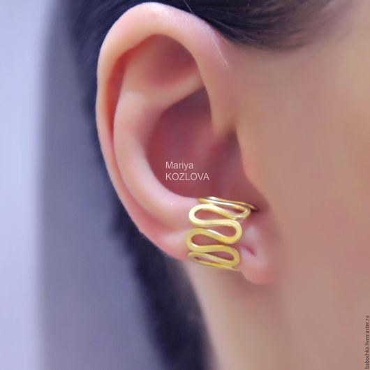 Каффы ручной работы. Ярмарка Мастеров - ручная работа. Купить Кафф на мочку уха- поджимающий, сужающий в золотом цвете/ серебрении. Handmade.
