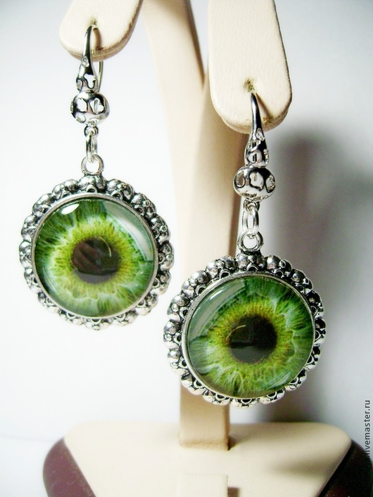 """Серьги ручной работы. Ярмарка Мастеров - ручная работа. Купить Серьги """"Глаз""""-зелёный. Handmade. Зеленый, серьги длинные"""