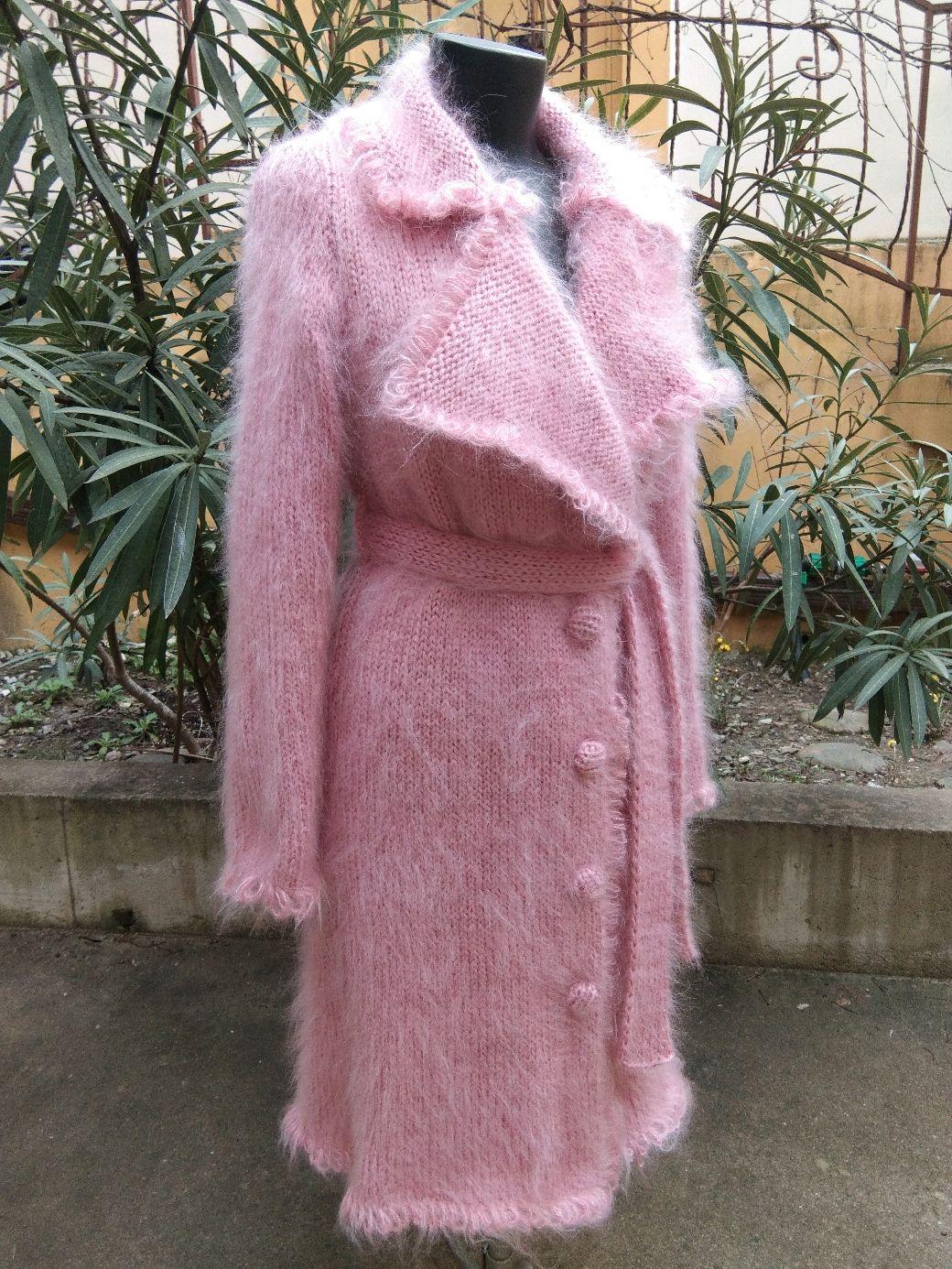 """Пальто """" Увядшая роза"""" вязаное из мохера. Ручная работа, Пальто, Сочи,  Фото №1"""