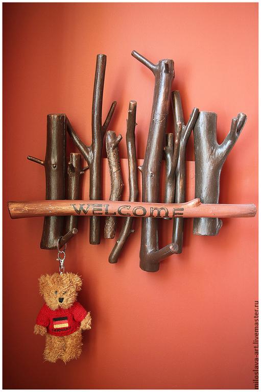"""Прихожая ручной работы. Ярмарка Мастеров - ручная работа. Купить Вешалка-ключница """"WELCOME"""". Handmade. Вешалка в прихожую, ключница в прихожую"""