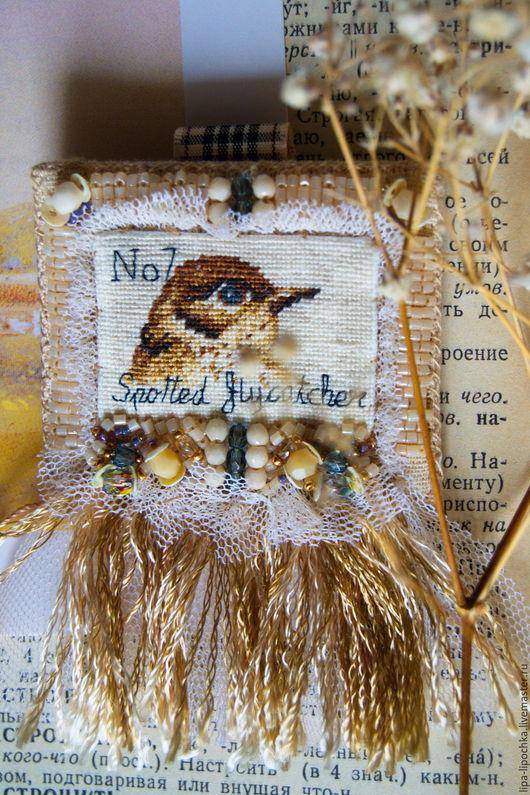 """Броши ручной работы. Ярмарка Мастеров - ручная работа. Купить Брошь"""" Пташка моя"""". Handmade. Бежевый, текстильная брошь"""