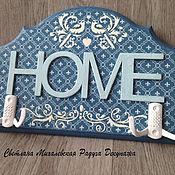 Для дома и интерьера ручной работы. Ярмарка Мастеров - ручная работа настенная вешалка ключница HOME декупаж. Handmade.