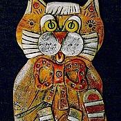 Картины и панно handmade. Livemaster - original item Ceramic panels Cat Red. Handmade.