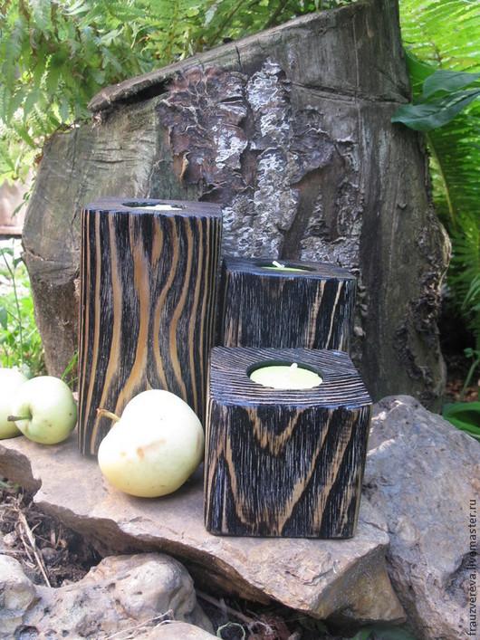 """Подсвечники ручной работы. Ярмарка Мастеров - ручная работа. Купить """"УДачные"""". Handmade. Чёрно-белый, состаренное дерево, дерево, дача"""