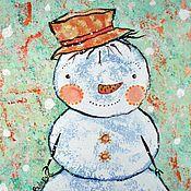 Картины и панно ручной работы. Ярмарка Мастеров - ручная работа Снеговичок. Handmade.