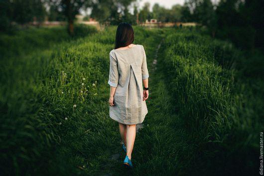 Платья ручной работы. Ярмарка Мастеров - ручная работа. Купить Льняное платье Вдох. Handmade. Серый, летнее платье из льна