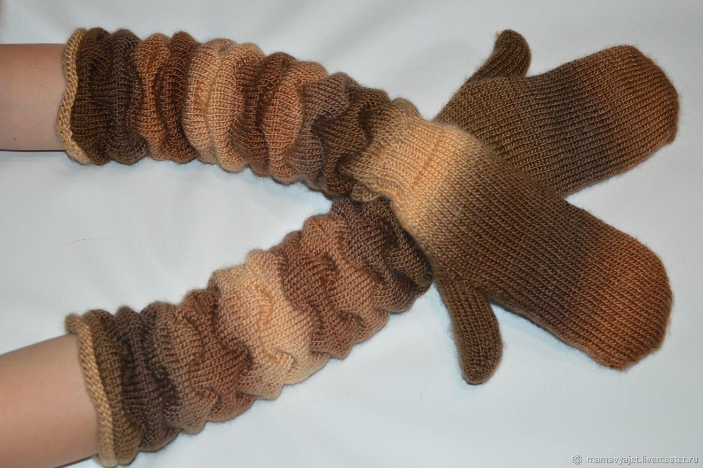 Варежки, митенки, перчатки ручной работы. Ярмарка Мастеров - ручная работа. Купить вязаные двойные варежки, высокие варежки, теплые варежки. Handmade.