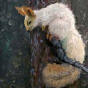 handmade. Livemaster - original item Winter squirrel painting with pastels on sandpaper. Handmade.
