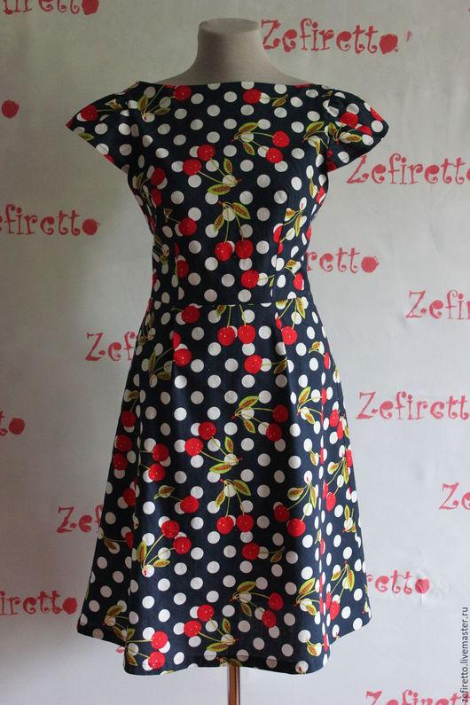 """Платья ручной работы. Ярмарка Мастеров - ручная работа. Купить Платье в вишнях """"Ягодки"""". Handmade. В горошек, сарафан"""