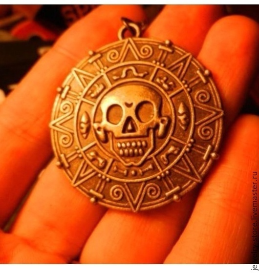 Для украшений ручной работы. Ярмарка Мастеров - ручная работа. Купить Ацтекская монета Пираты Карибского моря. Handmade. Коричневый