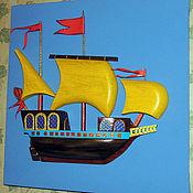 Картины и панно ручной работы. Ярмарка Мастеров - ручная работа Золотая каравелла-обьемное панно. Handmade.