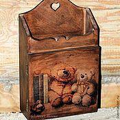 Ключницы ручной работы. Ярмарка Мастеров - ручная работа Ключница Мишки (сосна). Handmade.