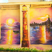Дизайн и реклама handmade. Livemaster - original item Wall painting of the facade of the restaurant