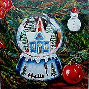 Картины и панно ручной работы. Ярмарка Мастеров - ручная работа Картина Под новогодней елкой. Handmade.