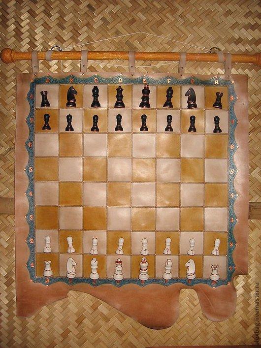 Элементы интерьера ручной работы. Ярмарка Мастеров - ручная работа. Купить Шахматы кожаные настенные. Handmade. Шахматы, кожа натуральная