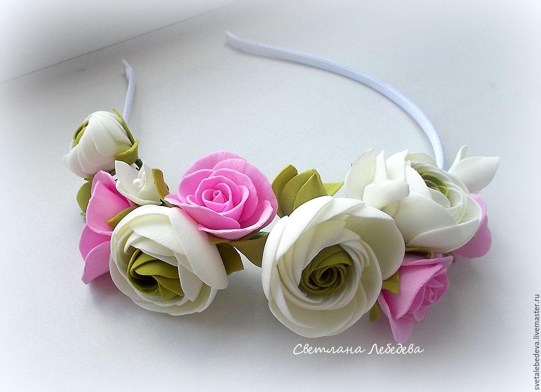 Ободок с цветами своими руками видео фото 397