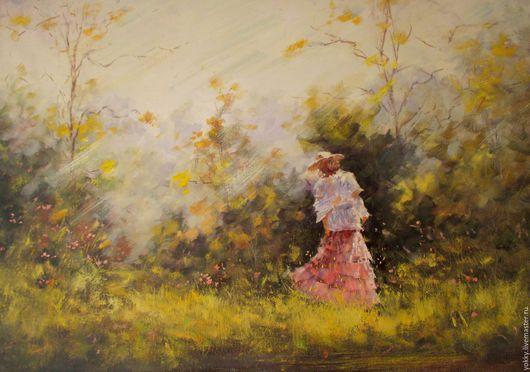 """Люди, ручной работы. Ярмарка Мастеров - ручная работа. Купить """"Девушка Лета"""" (Картина Маслом). Handmade. Розовый, маслом, шляпа"""