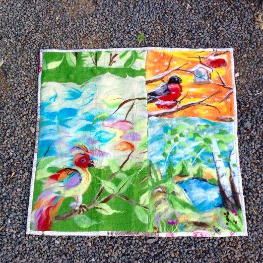 """Текстиль, ковры ручной работы. Ярмарка Мастеров - ручная работа. Купить Плед-ковер """"Пение птиц """". Handmade. Комбинированный"""