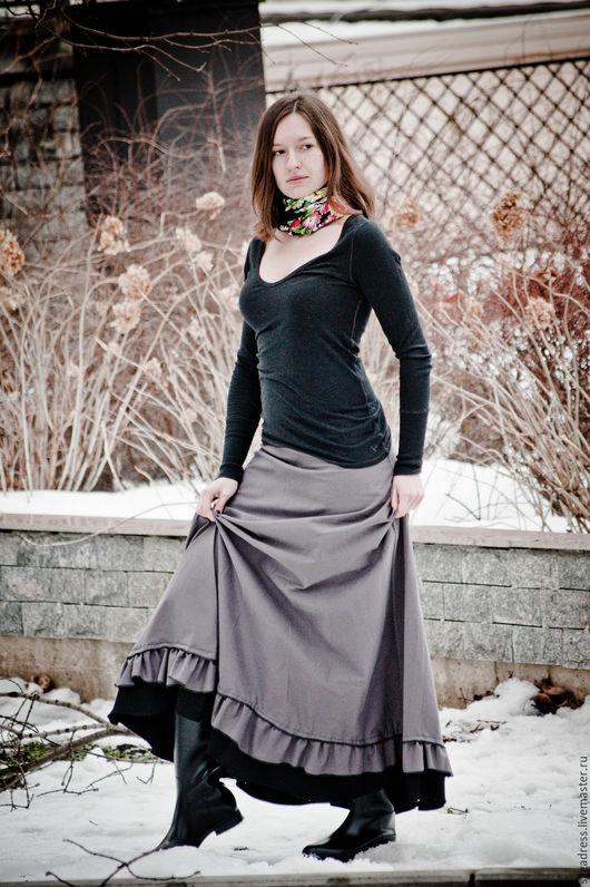 """Юбки ручной работы. Ярмарка Мастеров - ручная работа. Купить Элегантная бохо-юбка """"Armani"""". Handmade. Серый, длинная юбка"""
