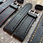 Аксессуары handmade. Livemaster - original item Black leather strap 22mm. Handmade.