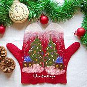 """Аксессуары ручной работы. Ярмарка Мастеров - ручная работа Валяные варежки """"Merry Christmas"""" Счастливого Рождества, красные. Handmade."""