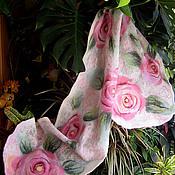 """Аксессуары ручной работы. Ярмарка Мастеров - ручная работа шарф валяный из войлока и шелка  """"Розы"""". Handmade."""