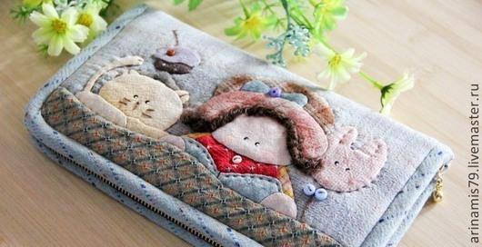 Шитье ручной работы. Ярмарка Мастеров - ручная работа. Купить Набор  2 Кошелек девочка с котом. Handmade. Японские ткани