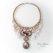 Украшения handmade. Livemaster - original item White Frost necklace with landscape agates and rutile quartz. Handmade.