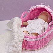 Куклы и игрушки handmade. Livemaster - original item Knitted cradle-carrier for dolls up to 35cm. Handmade.