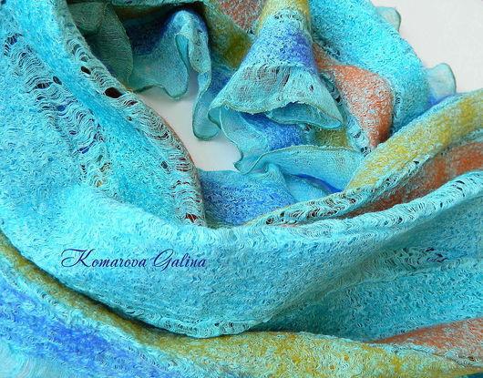 """Шарфы и шарфики ручной работы. Ярмарка Мастеров - ручная работа. Купить валяный шарф """" Бирюза """". Handmade. Шарф"""