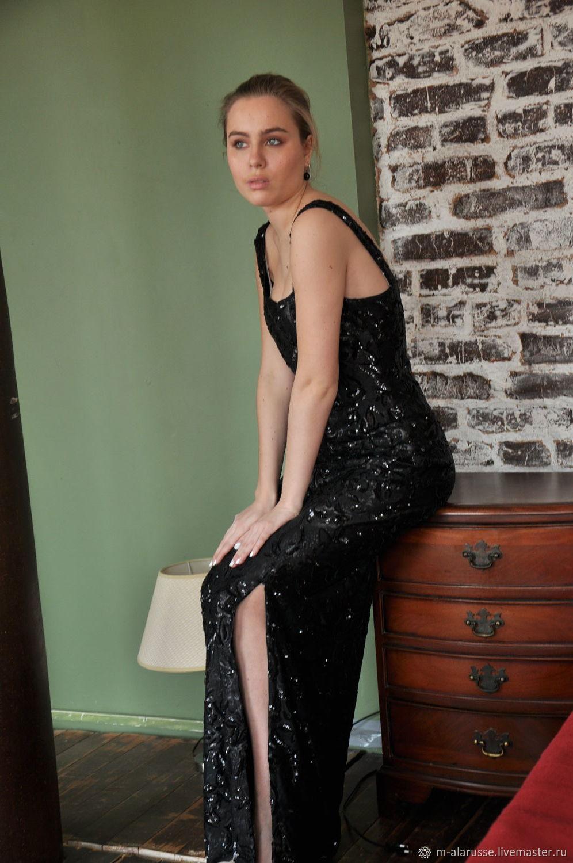 3c0c8bd54974071 Вечернее черное длинное в пол платье из пайеток – купить в интернет ...