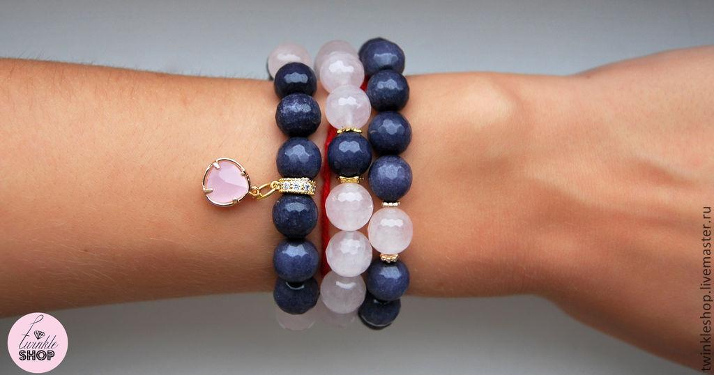 Stylish set of bracelets from agate and rose quartz, Bracelet set, Moscow,  Фото №1