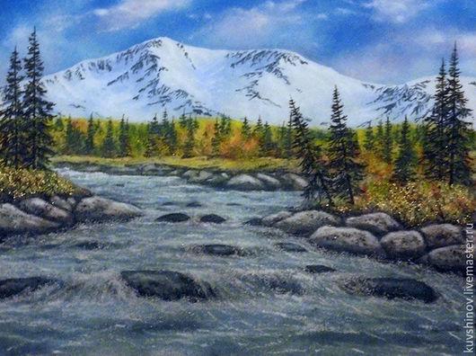 Пейзаж ручной работы. Ярмарка Мастеров - ручная работа. Купить Горная речка осенью. Handmade. Минеральная крошка, горный пейзаж