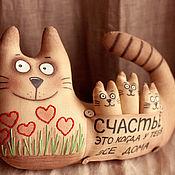 Мягкие игрушки ручной работы. Ярмарка Мастеров - ручная работа Кошка с котятами (ВСЕ ДОМА). Handmade.