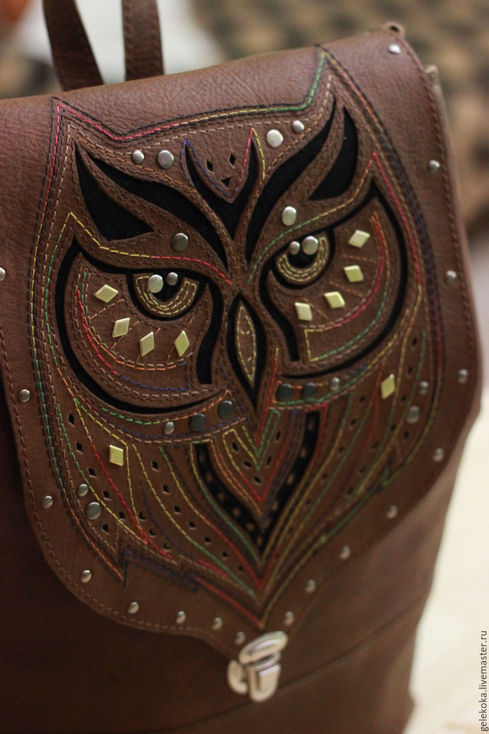Backpack genuine leather with applique and embroidery 'Rainbow owl', Classic Bag, St. Petersburg,  Фото №1