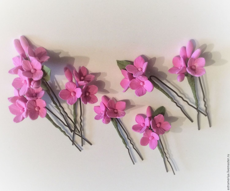 Свадебные украшения ручной работы. Ярмарка Мастеров - ручная работа. Купить Шпильки с цветами Розовая гортензия из полимерной глины. Handmade.